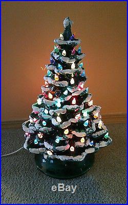 Large 19 Vintage Ceramic Lighted Illuminated Christmas Tree with Music Box & Snow
