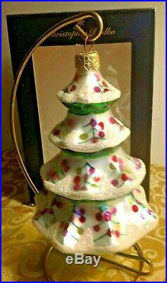 Large 5.5 Early Vintage Christopher Radko Snowy Winter Tree Christmas Ornament