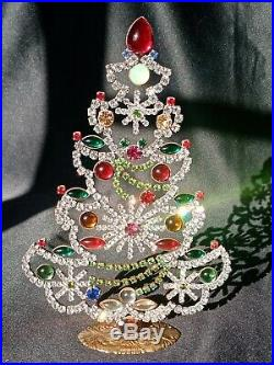 Large Czech 1930s Art Deco Vintage Rhinestone Free Standing Christmas Tree #10