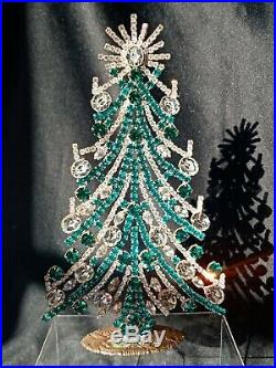 Large Czech 1930s Art Deco Vintage Rhinestone Free Standing Christmas Tree #3