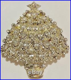 Large Eisenberg Ice Signed Christmas Tree Pin Brooch Vintage Rhinestones