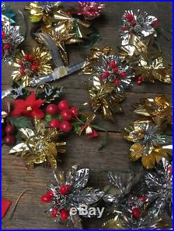 Large Joblot Vintage Christmas Tree Decorations Baubles Stars Bells Bows Berries