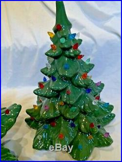 Large Vintage 22 tall by 16 wide Ceramic 3 Piece Lighted Christmas Tree