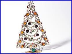 Large Vintage Czech table free standing glass rhinestone Christmas tree