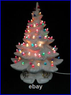 Large Vintage Hand Made White 18 1/2 Ceramic Lighted Christmas Tree WORKS