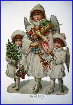 Large Vintage Victorian Christmas Die Cut with 3 Angels with Bells, Tree & Gifts