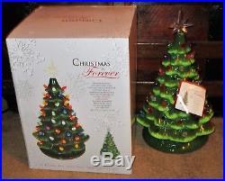 Large Vtg Lighted Multi-color Bulbs Ceramic Christmas Tree 2 Tone Green 15 Iob