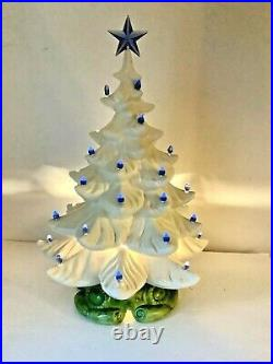 Large White Ceramic Christmas Tree 21 x 14 Blue Bulbs Star Lights. Vintage