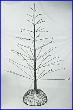 Large Wire Metal Christmas Tree 32 Tall Holds 55 Ornaments for Display Vintage