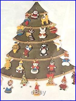 LeeWards Christmas Tree Advent Calendar Felt Kit Wall Hanging Vtg 70s lee wards