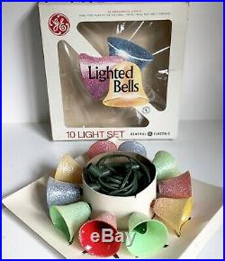 Lighted Bells Frosted GE Christmas Tree Bulbs 10 NIB Work Vtg Mid Century