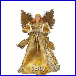 Lighted Gold Christmas Angel Tree Topper 14 VTG Kurt Adler Hold Candle Ornament