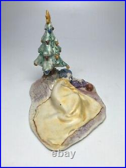Lo Scricciolo Art Sculpture Figure A. Colombo Girl With Christmas Tree Vintage