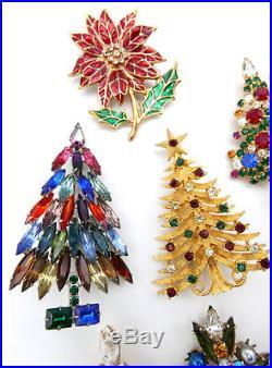 Lot 11 Vintage Christmas Tree Pins Warner Mylu JJ Rhinestone signed