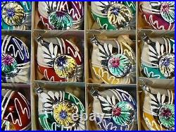 Lot (12) Czech blown glass reflector oval vintage style Christmas tree ornaments