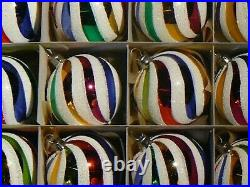 Lot (12) Czech glass vintage style striped Nordic Christmas tree ornaments