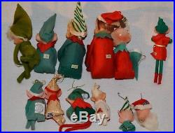 Lot 12 Vintage KNEE HUGGER Elves Elf PIXIE Japan CHRISTMAS Tree Ornaments Santa
