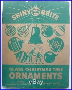 Lot 12 Vtg Shiny Brite Christmas Tree Ornaments Lantern Top UFO Shapes Mica Box
