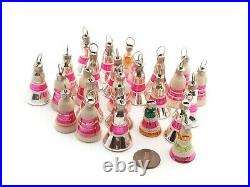 Lot (25) vintage Czech mercury glass miniature bell Christmas tree ornaments