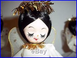 Lot 3 Vintage Christmas Tree Topper Display Ornament Angel Spring Tinsel Muslin