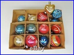 Lot/59 Vintage Christmas Tree Glass Ornaments Shiny Brite Etc. VgC