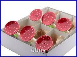 Lot (6) Czech blown glass mushroom toadstool clip on Christmas tree ornaments
