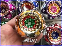 Lot (6) Czech vintage style mercury glass Christmas tree ornaments decorations