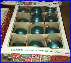 Lot 8 boxes vintage Christmas glass tree ornaments Coby Franke Shiny Brite Metro