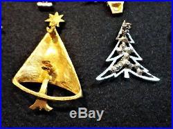 Lot Of 10 Vintage Czech Glass Christmas Tree Pin Brooch