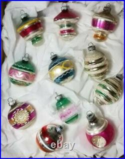 Lot Vintage 11 Shiny Brite Mercury Glass UFO 3D indent TREE Christmas Ornaments