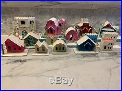 Lot of 14 Vintage Putz Antique CHRISTMAS Village Houses Japan Holiday Mica Trees