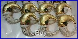 Lot of 20 Rare Vintage Half moon Santa porcelain bisque Christmas Tree ornaments
