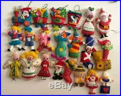 Lot of 21 Vintage Fabric Christmas Tree ORNAMENTS Hand Made Collection