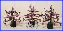 Lot of 3 Vintage Miniature Christmas Trees feather bottle brush doll house