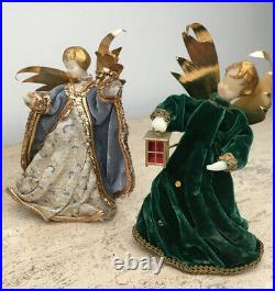 Lot of 4 Vintage German Wax Angels Christmas Tree Topper 6.5 West Germany