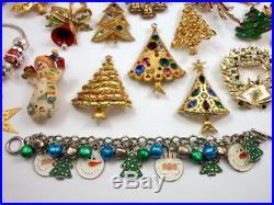 Lot of 51 Vintage Christmas Tree Rhinestone Jewelry Avon Mylu Eisenberg Ice ART