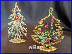 Lot of 6 Czech 30s Art Deco Vintage Rhinestone Free Standing Christmas Trees #2