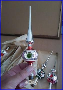 Lot of 6 NOS Vintage Christmas Tree Toppers US ZONE Germany Mercury Glass 1940's