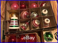 Lot of 84 Vintage Glass Christmas Tree Ornaments. Glass Shiny Brite, Poland, USA
