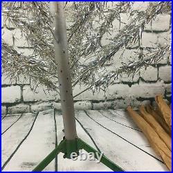 MCM Vtg 4 1/2 ft Silver Pom Pom Aluminum Christmas Tree 40 Branches Green Stand