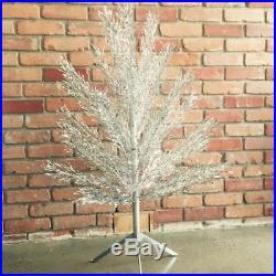 MID CENTURY MODERN VINTAGE 1950s ALUMINUM CHRISTMAS TREE SILVER 4ft ORIG BOX
