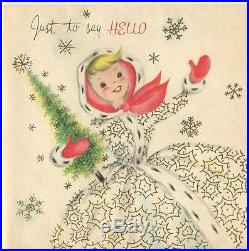 MID Century Vintage Christmas Blonde Girl Tree Snowflakes Glitter Greeting Card