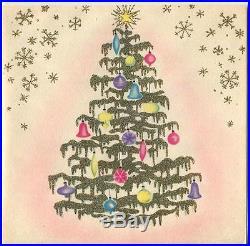 MID Century Vintage Christmas Tree Ornaments Art Deco Nouveau Gold Glitter Card