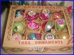 Magnificent Antique Vtg Poland Indent & Japan Diorama Glass Xmas Tree Ornaments
