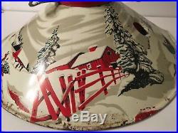Metal Painted Christmas Tree Stand Vtg MCM Sledding Dashing Thru the Snow Winter