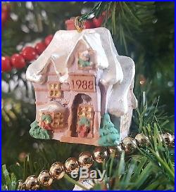 Miniature Hallmark Christmas Tree With Vintage Ornaments And Moving Train