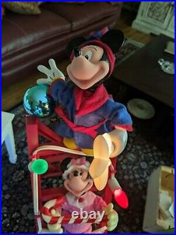 Mr Christmas 1993 Mickey's Tree Trimmers 4 Ft Ladder Tested Vintage