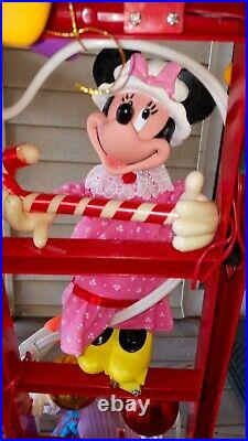 Mr Christmas Mickey's Tree Trimmers Vintage 1993 6 Animated Figures On Ladder
