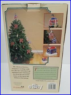 Mr Christmas Tree Vintage New Working Condition Complete Set Tin Cable Cars Rare