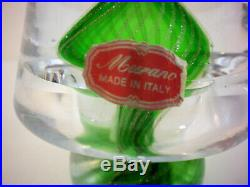 Murano Made in Italy Christmas Tree Italian Art Glass Label Paperweight Vintage